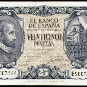 1940. 25 Pesetas. 9 De Enero, Juan De Herrera. Serie B. Escaso