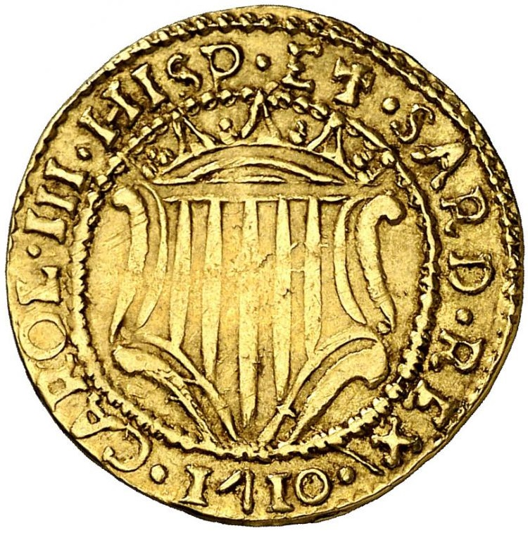 1710. CARLOS III, PRETENDIENTE. CAGLIARI. 1 ESCUDO. 3,19 G. MUY ESCASA