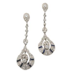 Espectaculares Pendientes Largos De Diamantes Y Zafiros