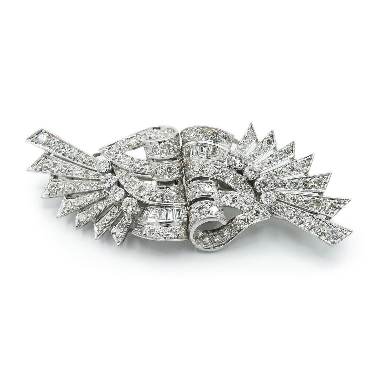 Delicado Broche Doble Clip De Diamantes Art Decó. Años 30.