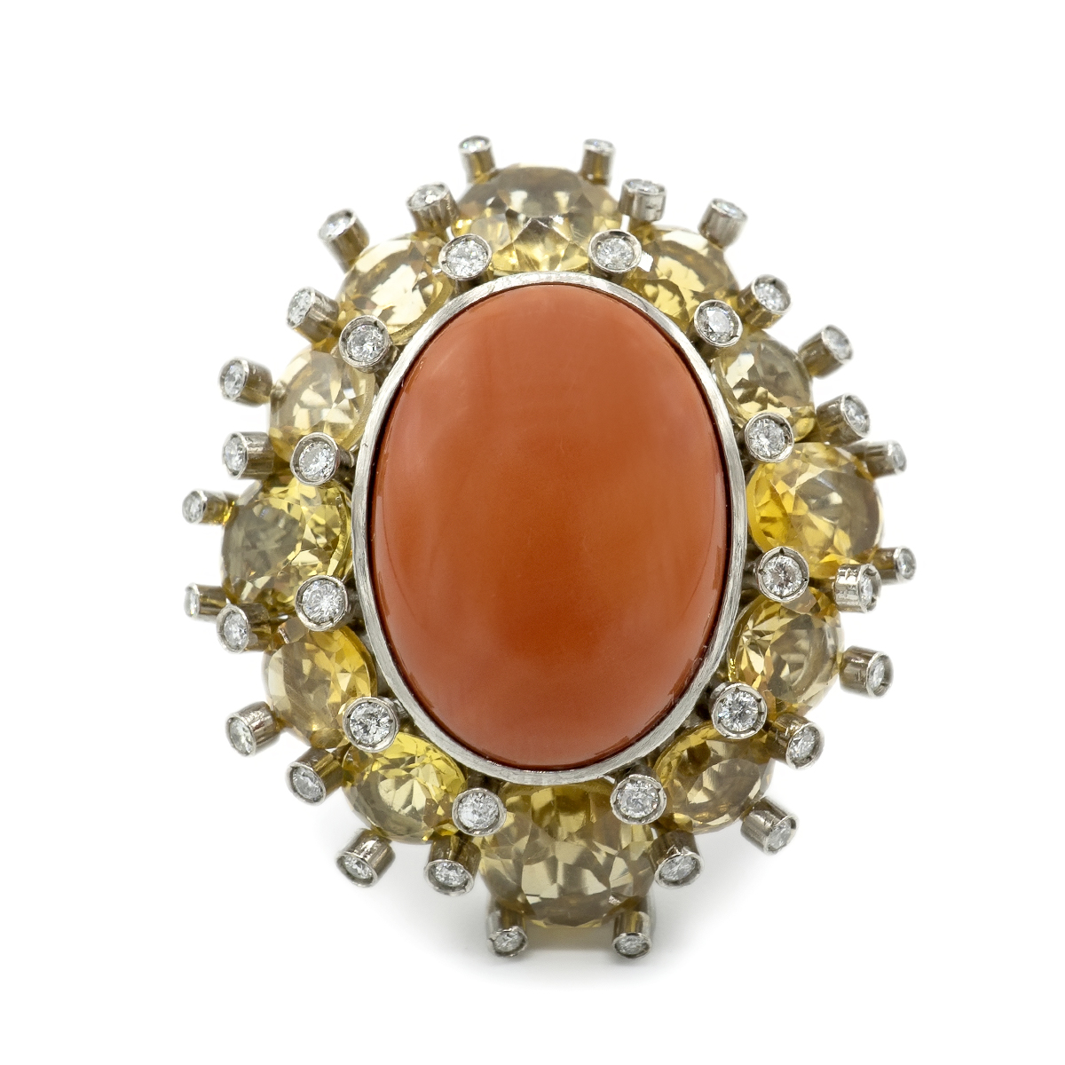 Important Ring Of Diamonds, Coral And Citrines. 50's.