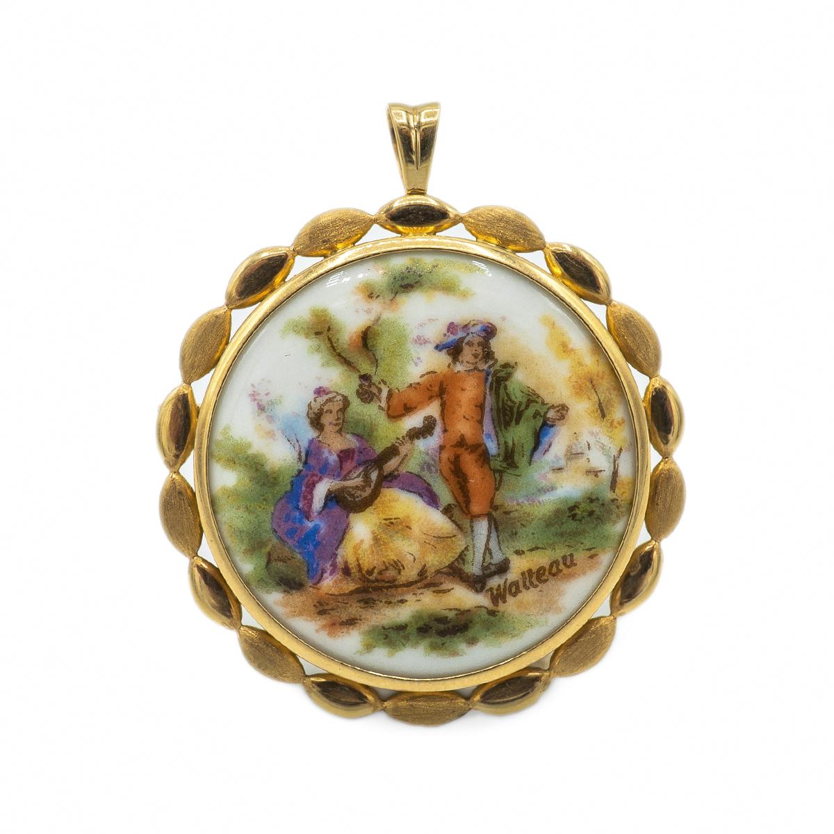 Delicate Porcelain Brooch From Limoges P. Pastaud. Mid-twentieth Century.