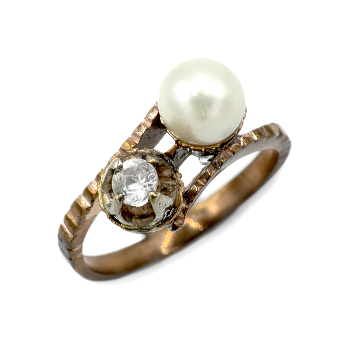 You And Me Ring With Pearl And Shiny.