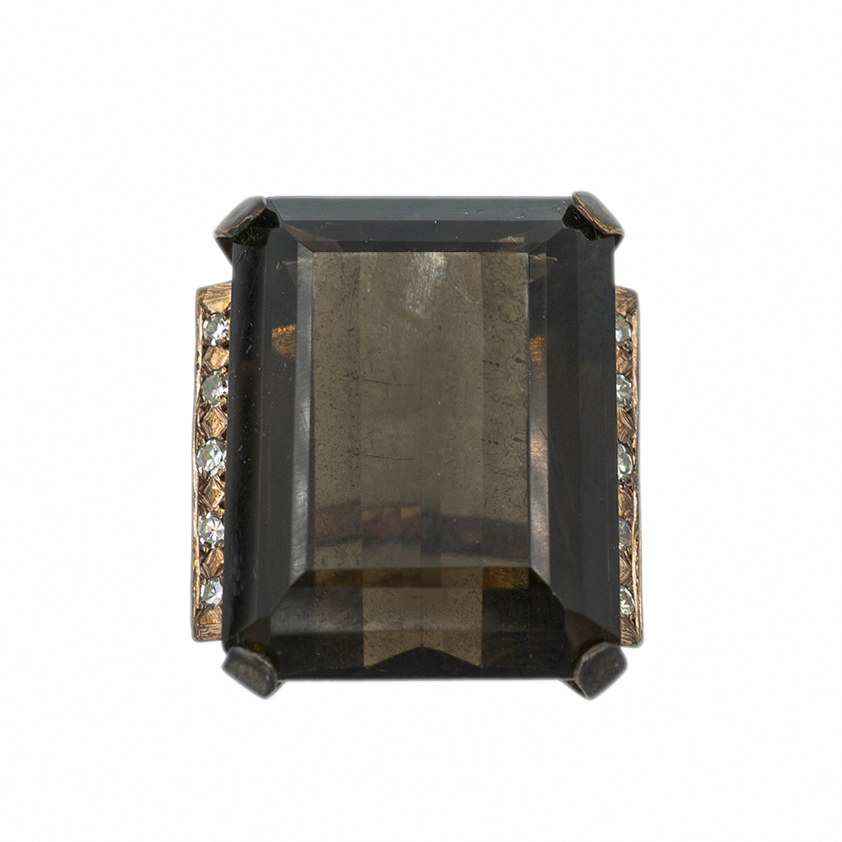 Spectacular Vintage Ring With Smoky Quartz And Diamonds. Years 50.