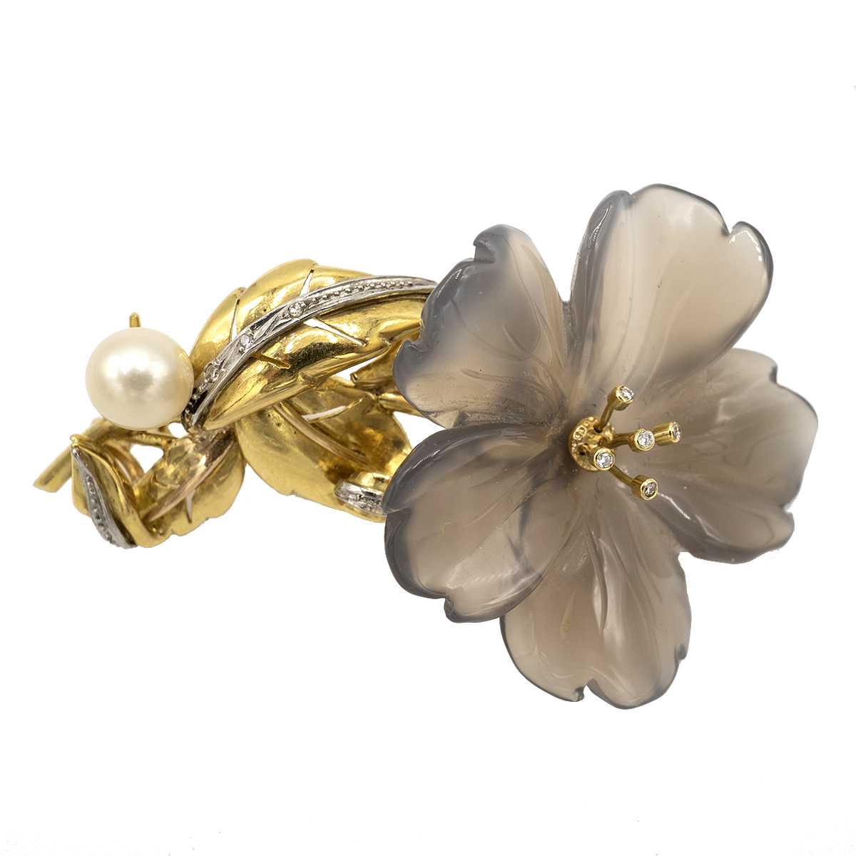 Delicate Brooch In The Shape Of A Flower. 50's.