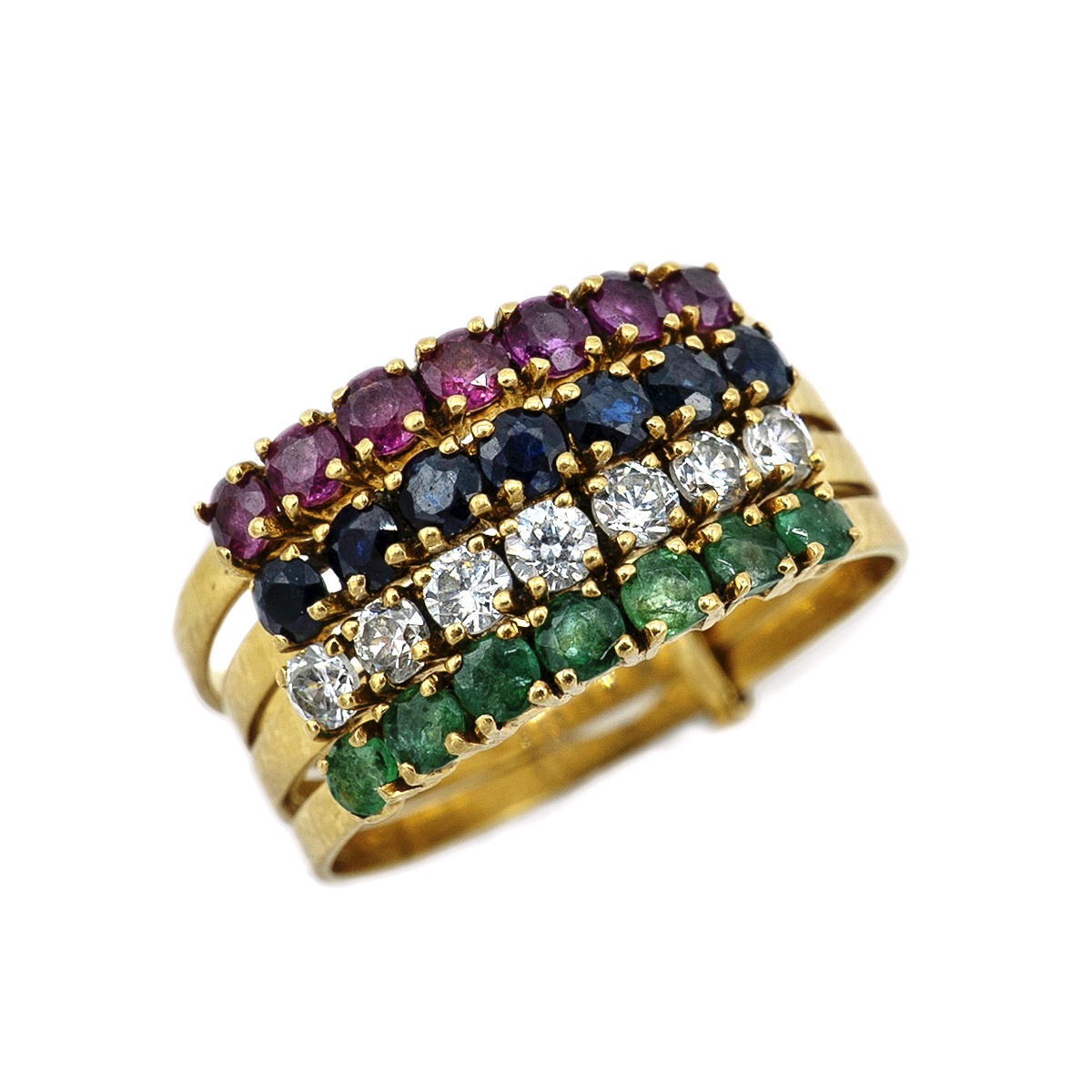 Four Half-alliances Of Brilliants, Rubies, Sapphires And Emeralds.