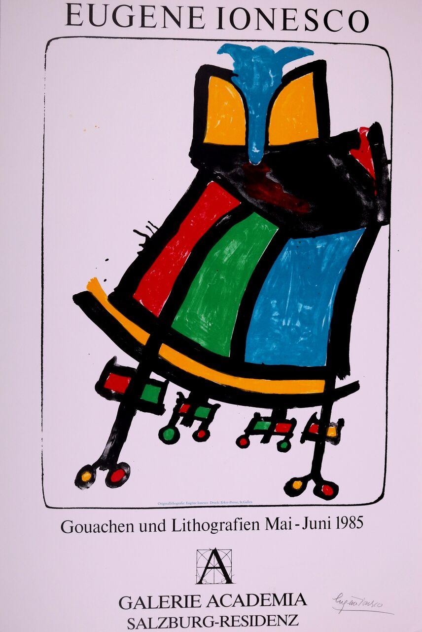 Cartel Para La Exposición 'Gouachen Und Litographien' De La Galería Academia, 1985. Eugène Ionesco.