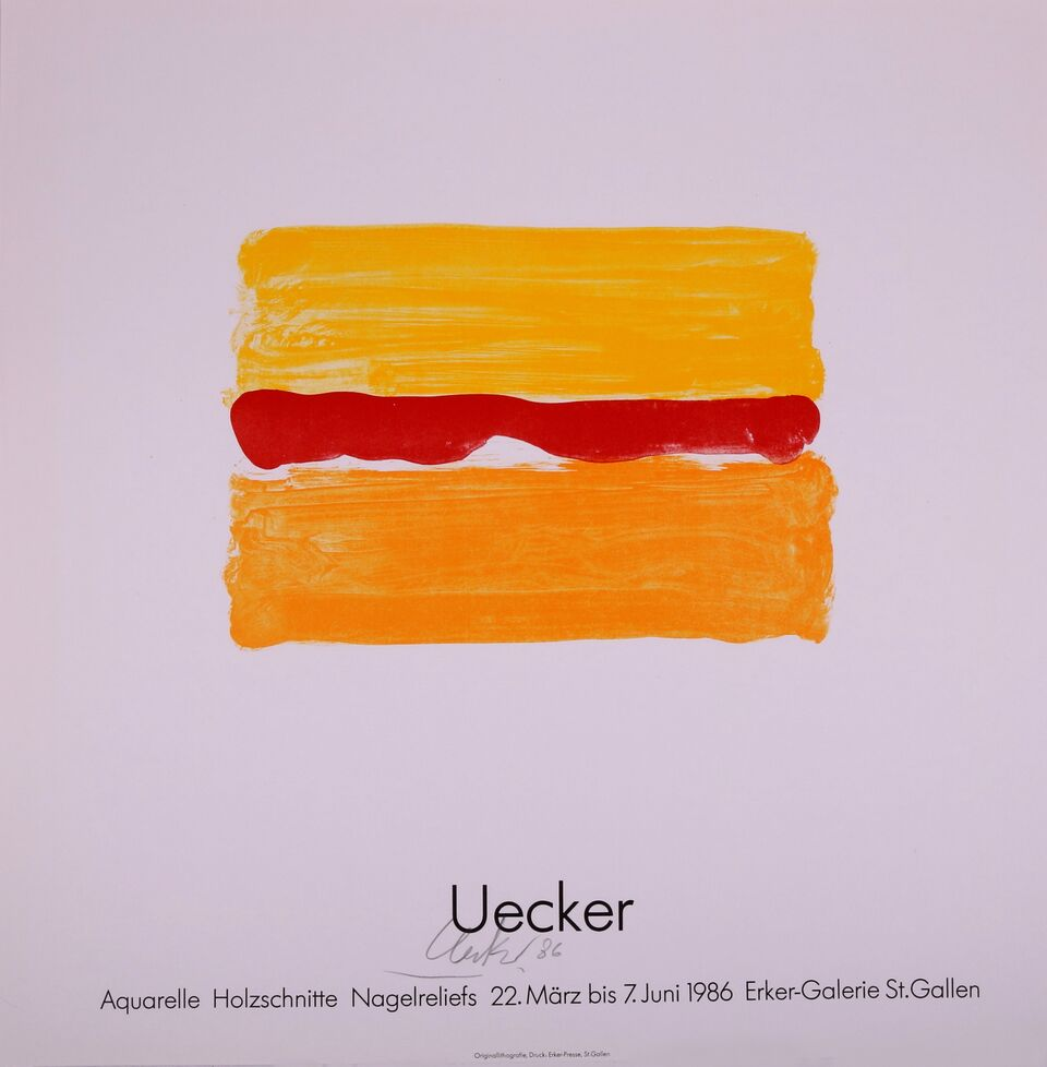 Cartel Para La Exposición De La Galería Erker, 1986. Günther Uecker.