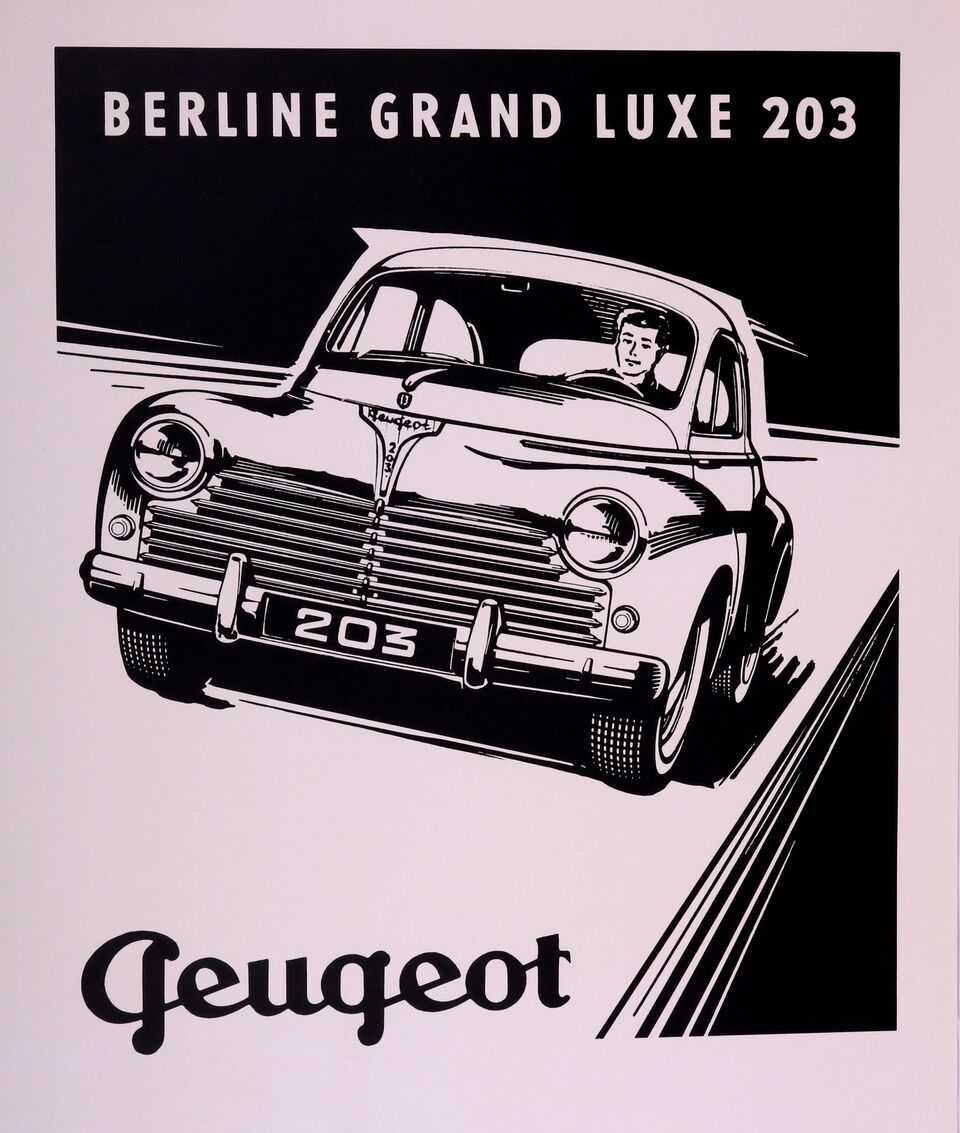 Advertising Poster For Peugeot, Berline Grand Luxe 203 Model.